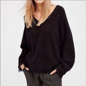 Free People Irresistible Fringe Sweater Black